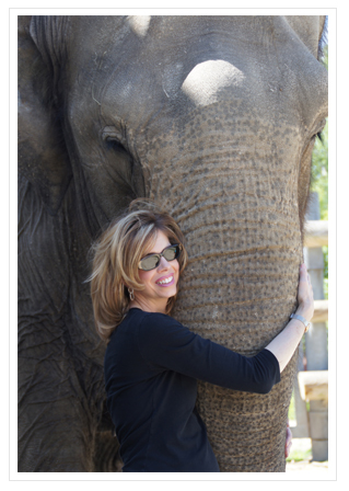 Lyn Dillies with Emily the Elephant